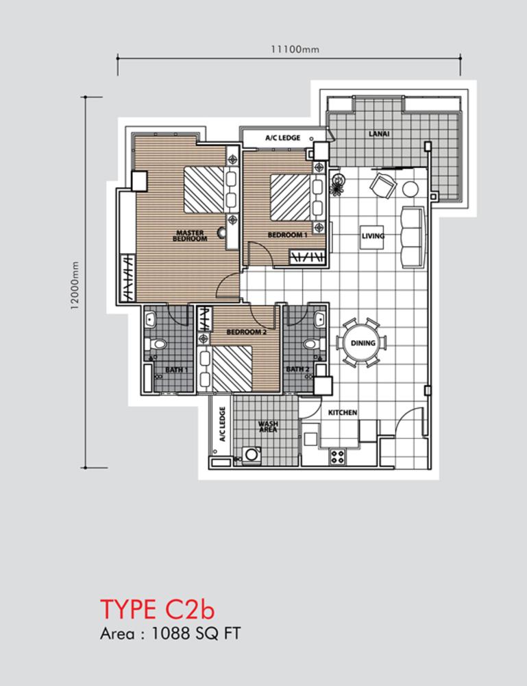 Putra 1 Apartment Type C2b (Block 3, 5 & 6) Floor Plan