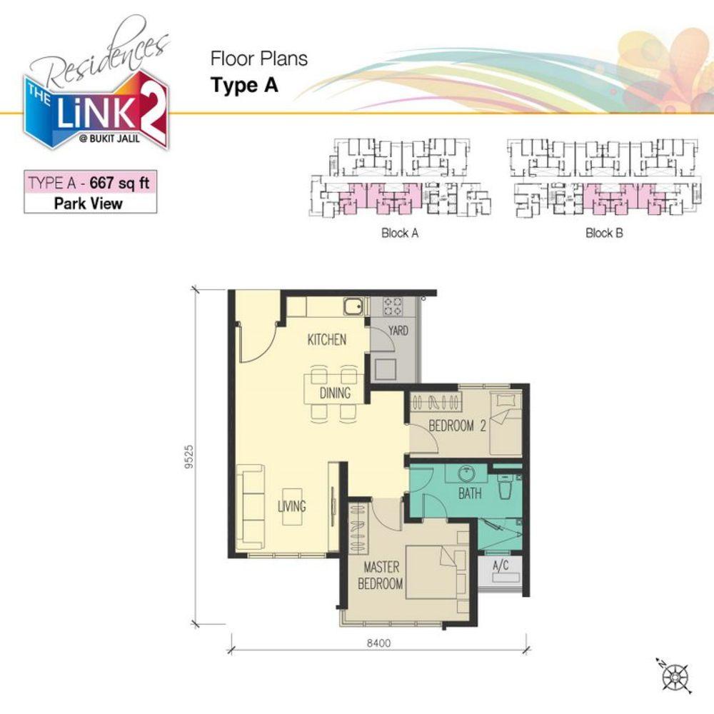 The Link 2 @ Bukit Jalil Type A Floor Plan