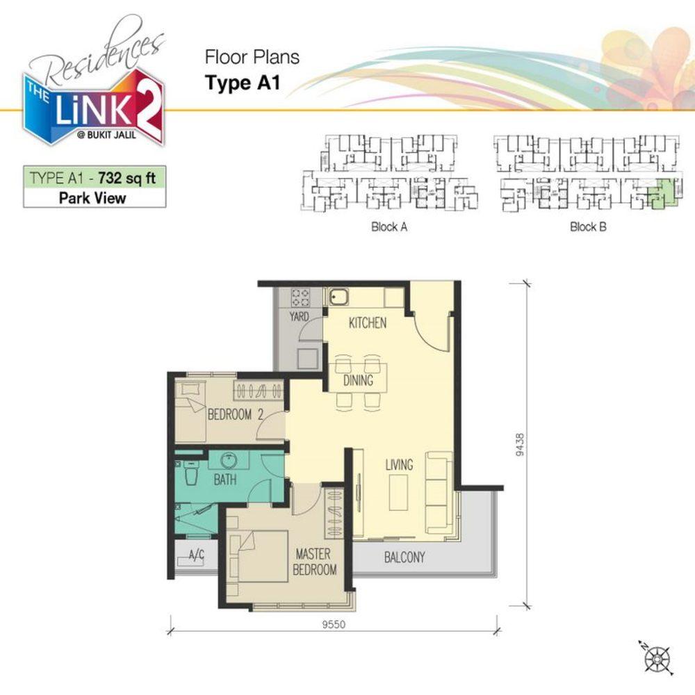 The Link 2 @ Bukit Jalil Type A1 Floor Plan