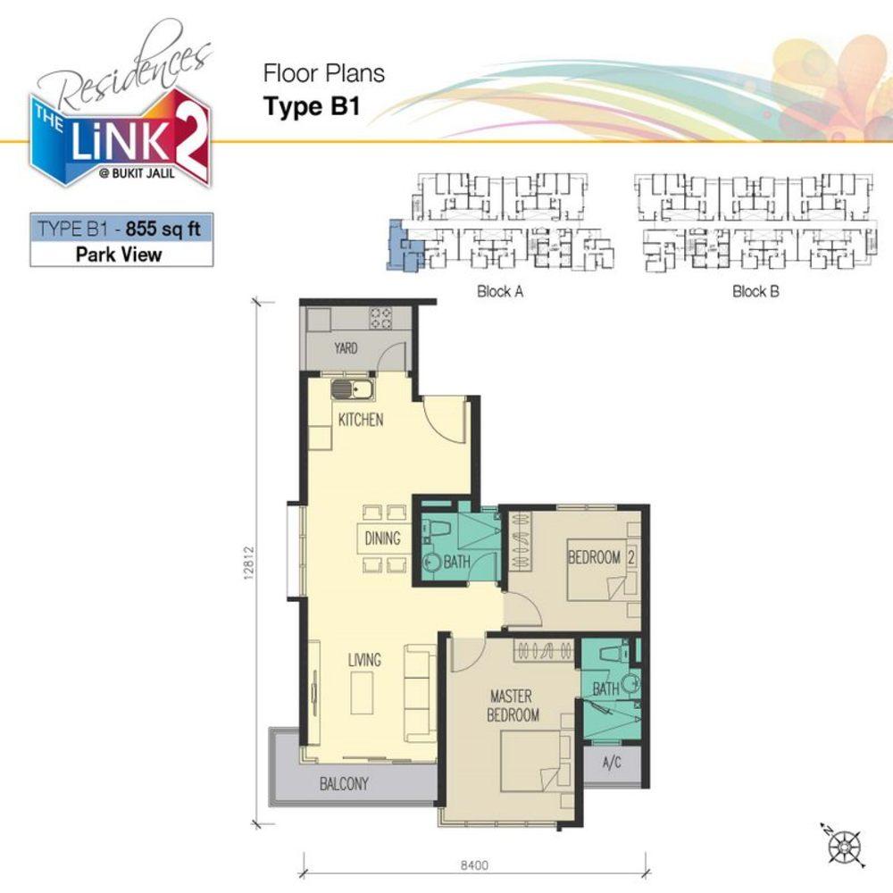 The Link 2 @ Bukit Jalil Type B1 Floor Plan