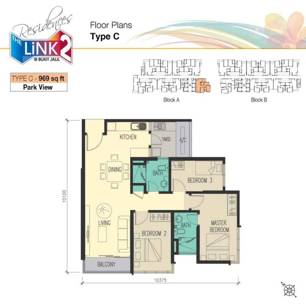 The Link 2 @ Bukit Jalil Type C Floor Plan