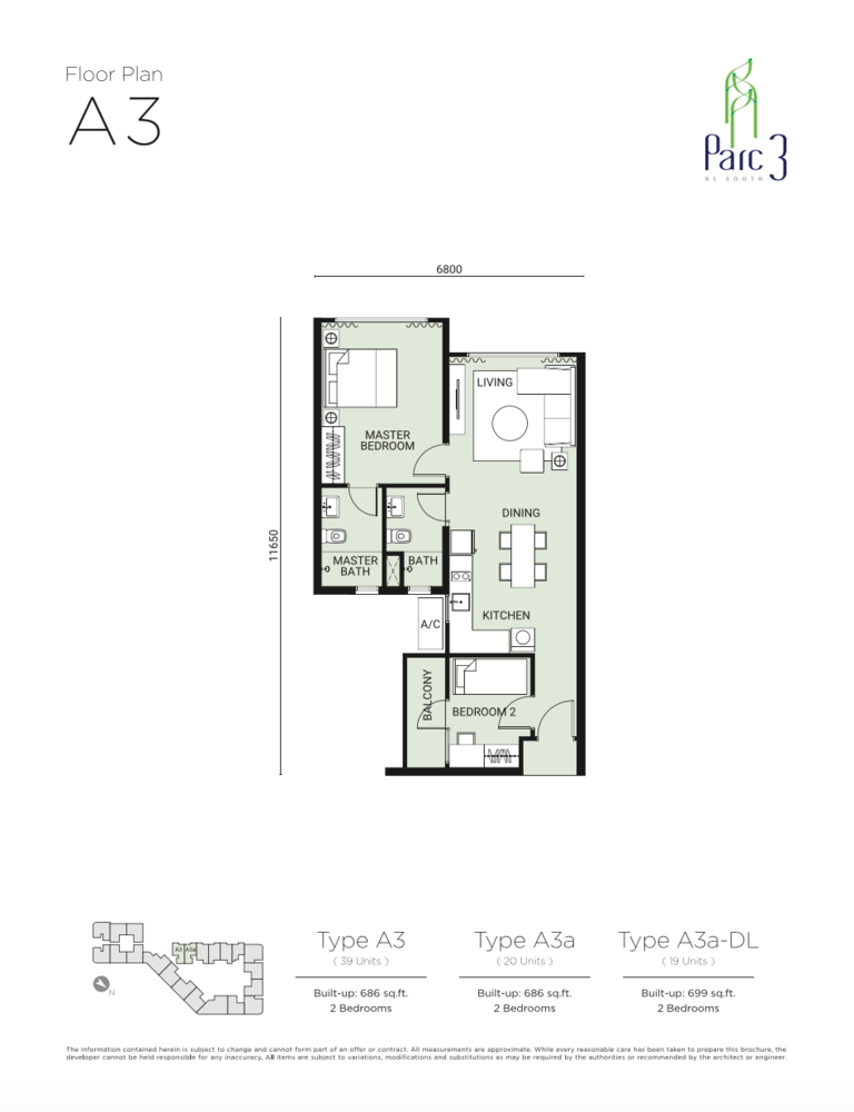 Parc 3 Type A3 Floor Plan