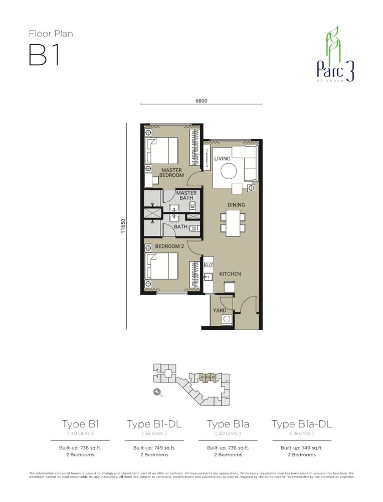 Parc 3 Type B1 Floor Plan