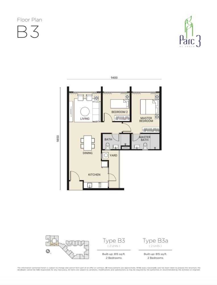 Parc 3 Type B3 Floor Plan