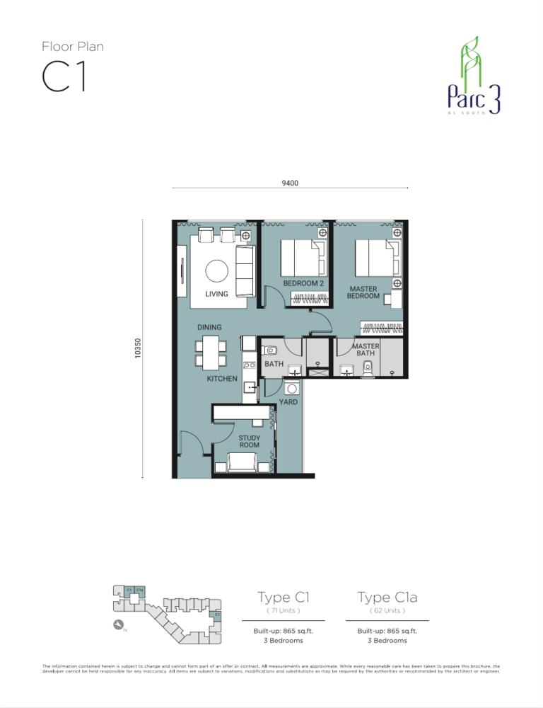 Parc 3 Type C1 Floor Plan