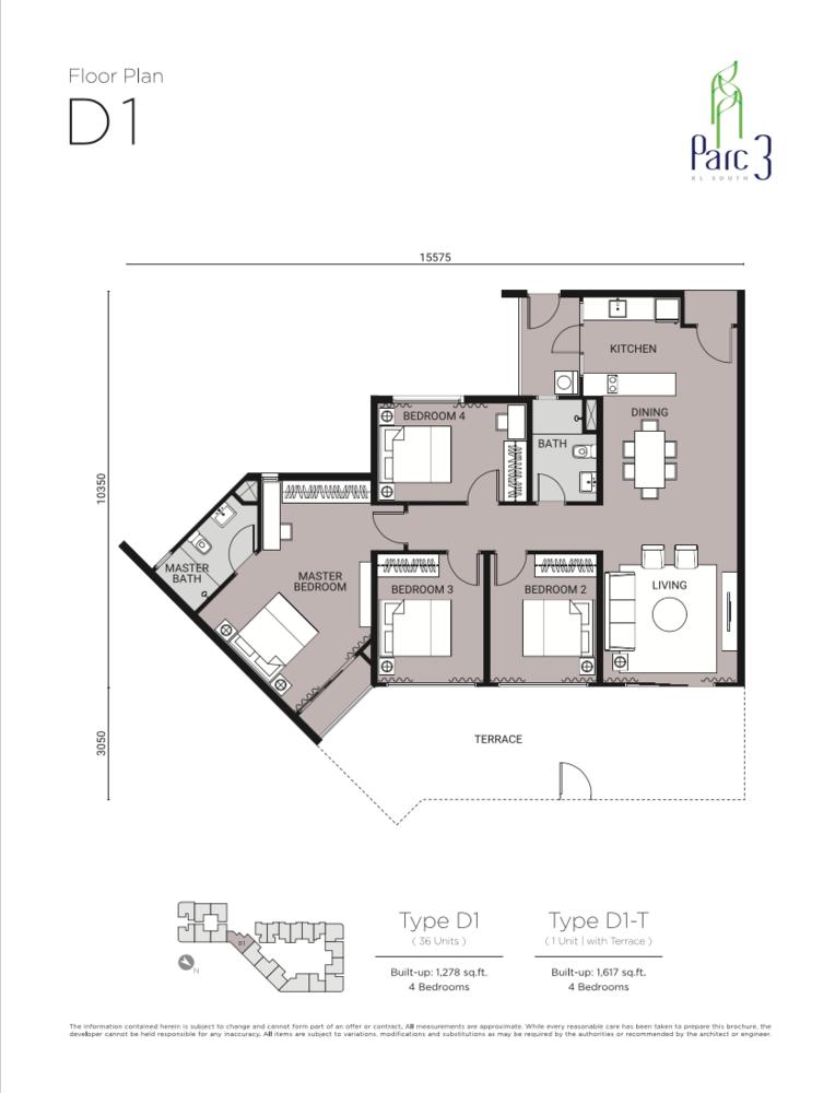 Parc 3 Type D1 Floor Plan