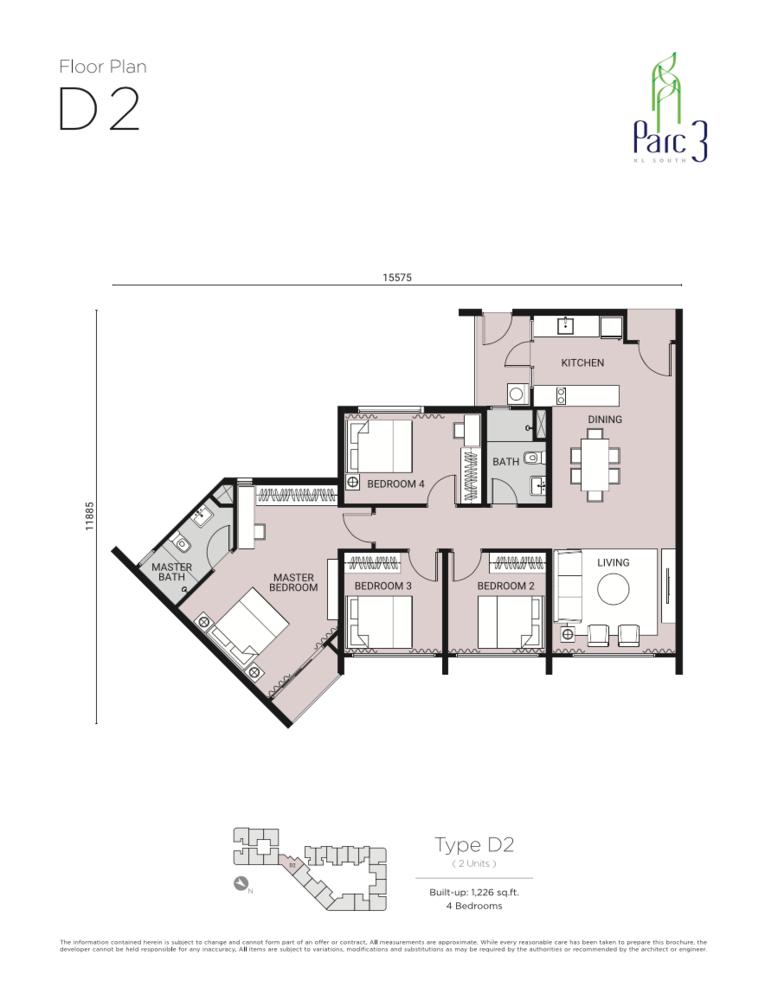 Parc 3 Type D2 Floor Plan