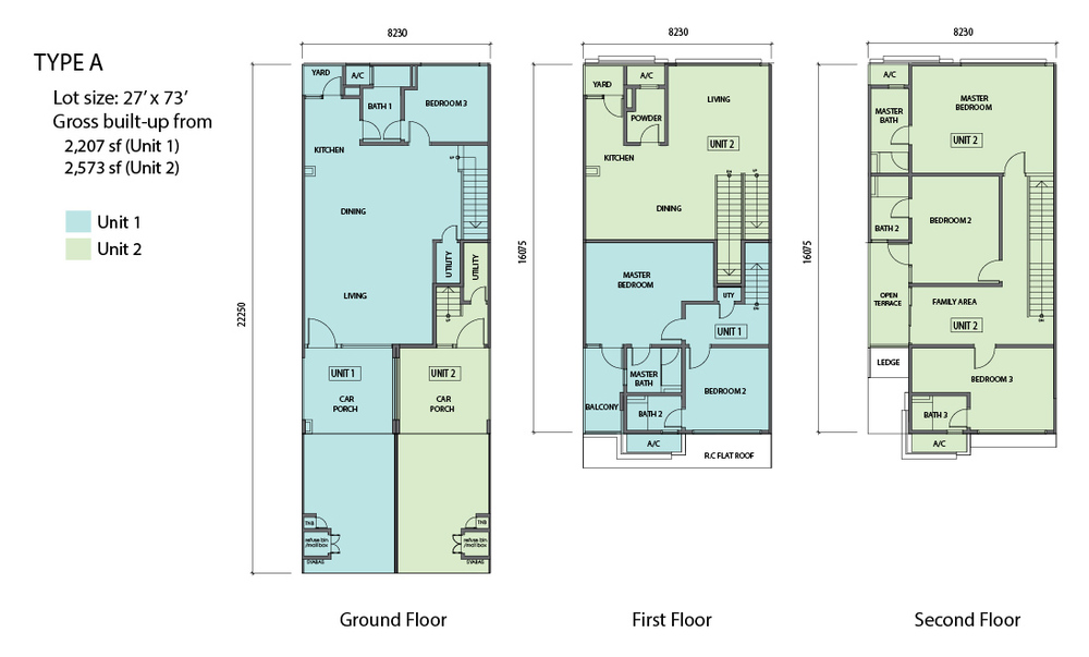 N'Dira Townhouse Type A (Unit 2 - Green) Floor Plan