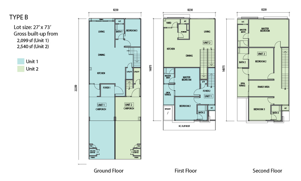 N'Dira Townhouse Type B (Unit 1 - Blue) Floor Plan
