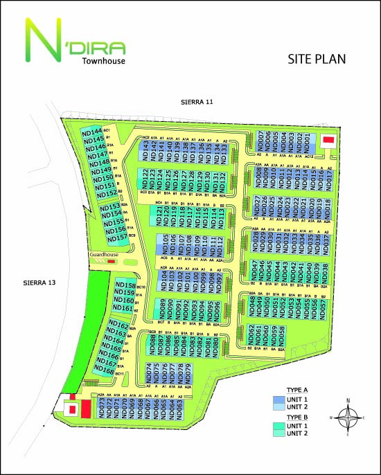 Site Plan of N'Dira Townhouse