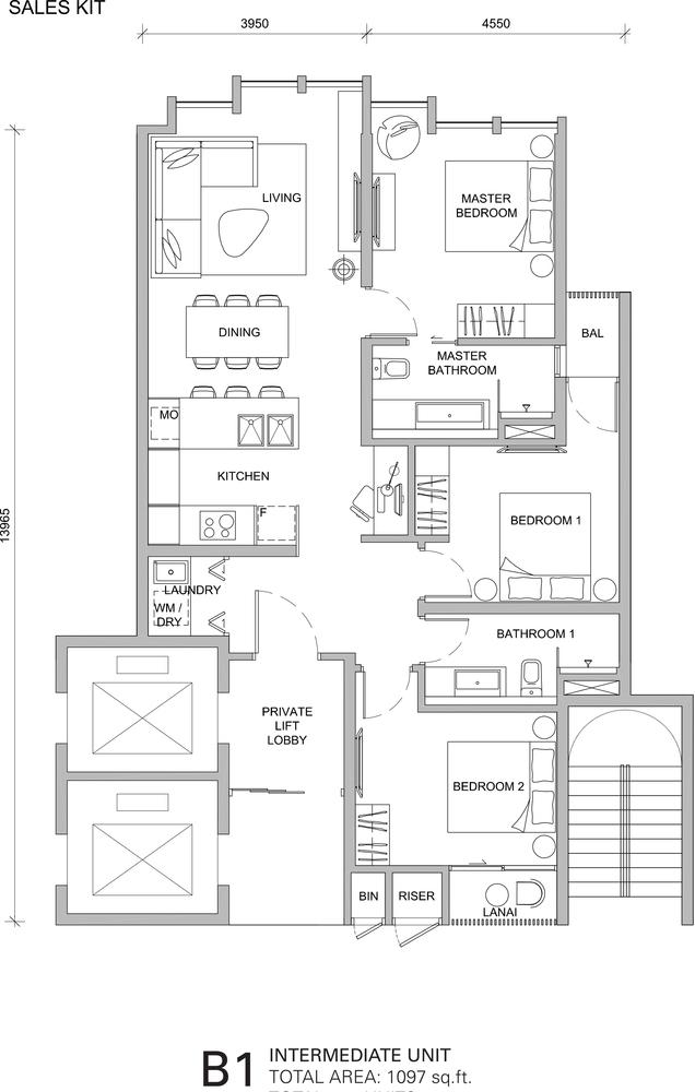 City of Dreams Type B1 Floor Plan
