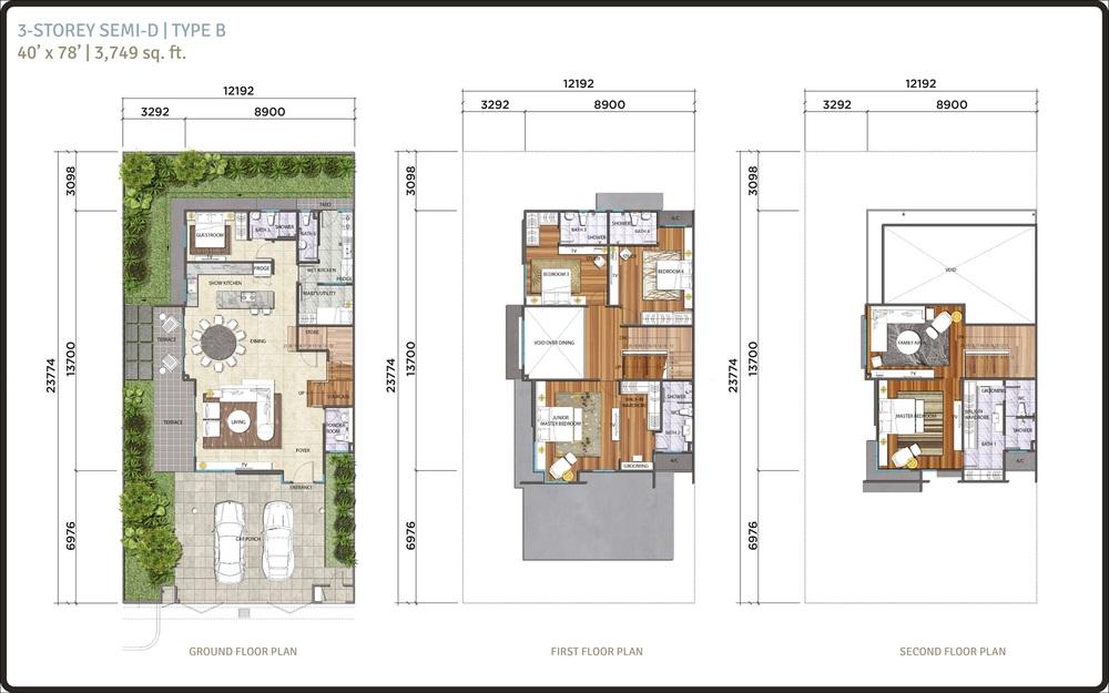 Lambaian Residence Semi-D Type B Floor Plan