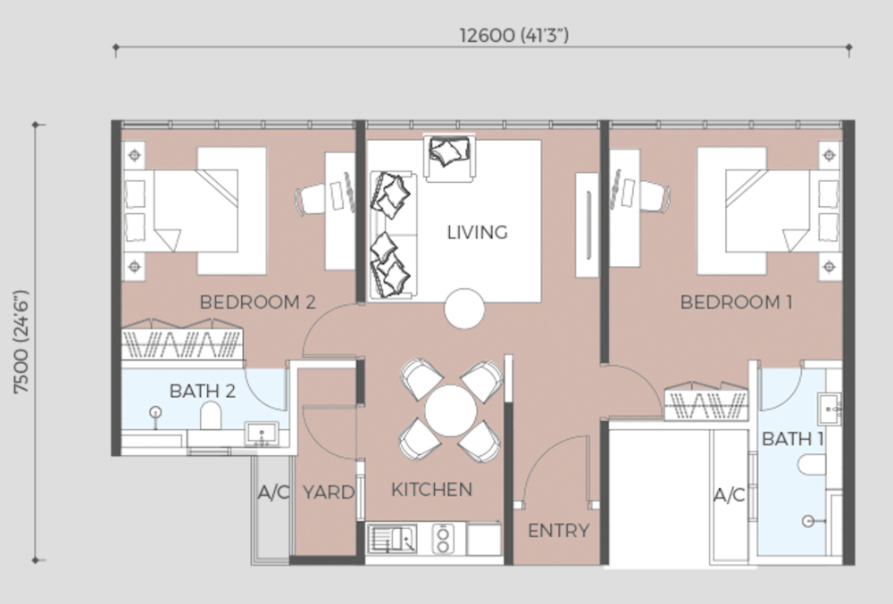 Oasis Rio Type B2 Floor Plan