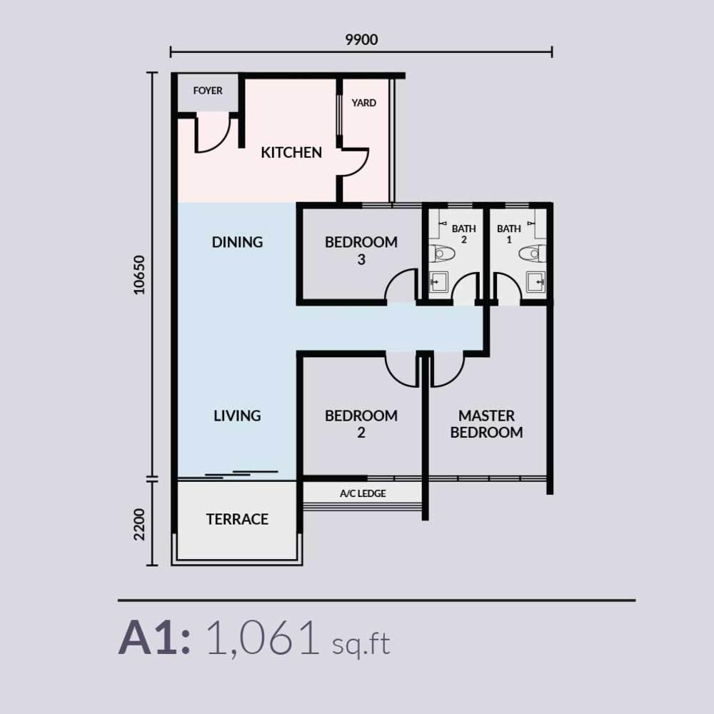 Skyvilla @ D'Island Type A1 Floor Plan