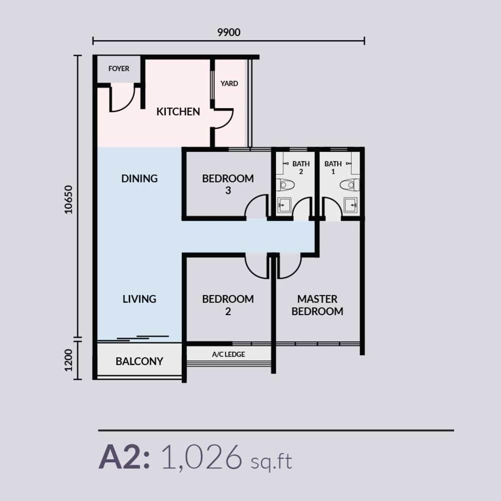 Skyvilla @ D'Island Type A2 Floor Plan
