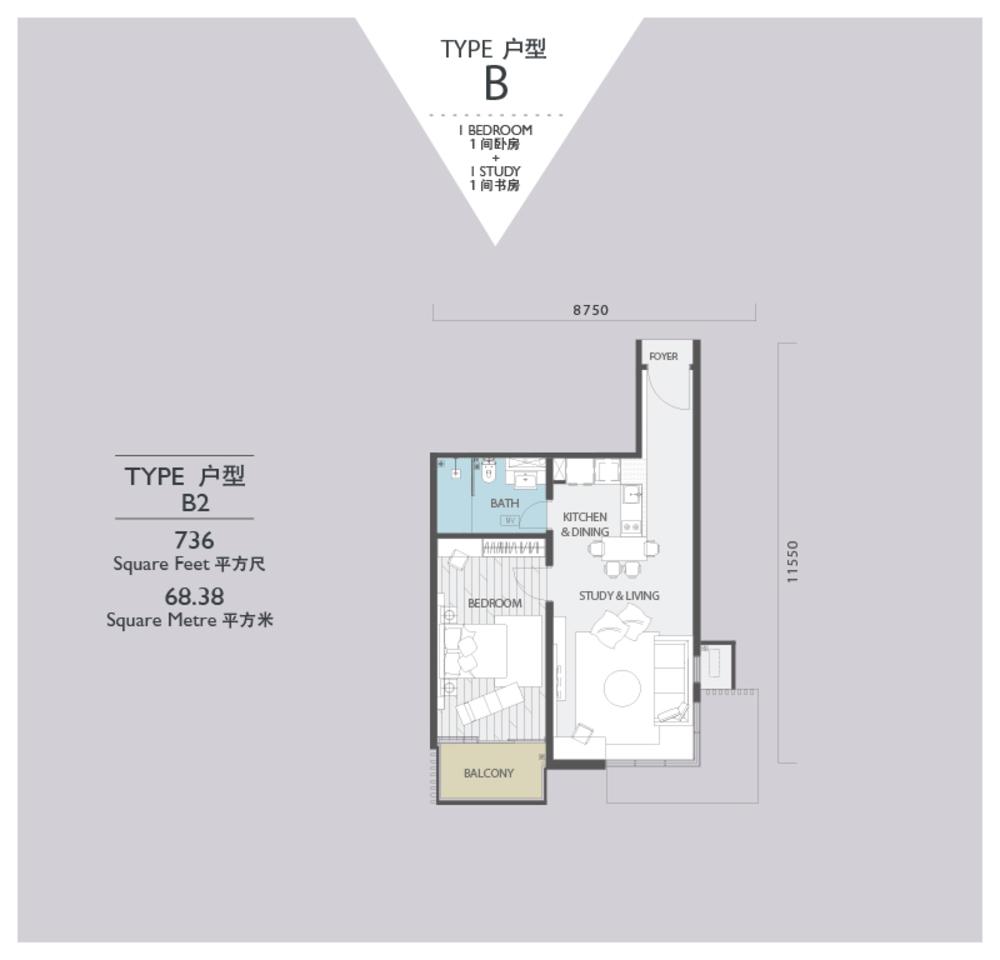 Viridea @ Medini Lakeside SOHO - Type B2 Floor Plan