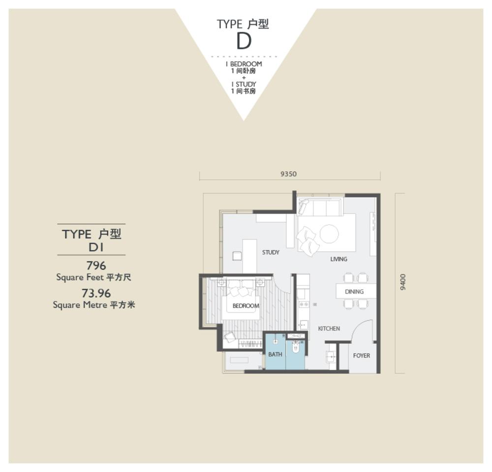 Viridea @ Medini Lakeside SOHO - Type D1 Floor Plan