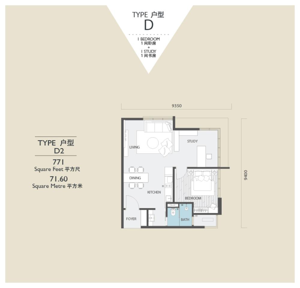 Viridea @ Medini Lakeside SOHO - Type D2 Floor Plan