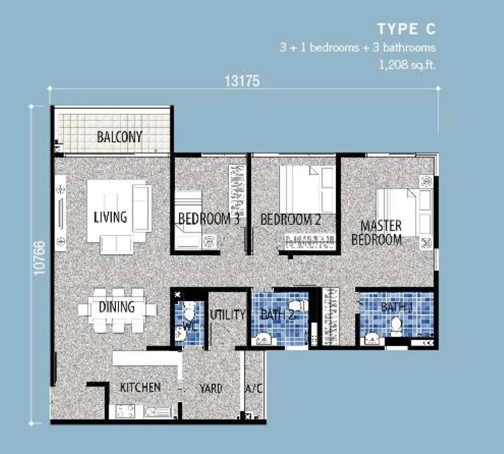 Seri Austin Residence Type C Floor Plan