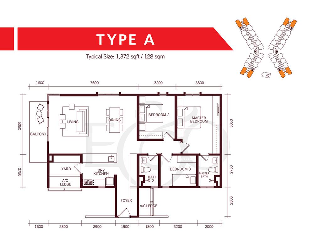 The Tamarind Type A Floor Plan