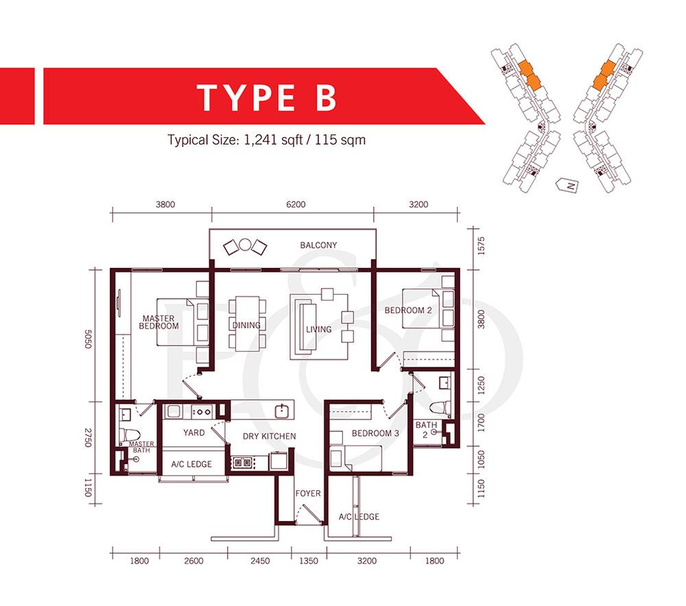 The Tamarind Type B Floor Plan