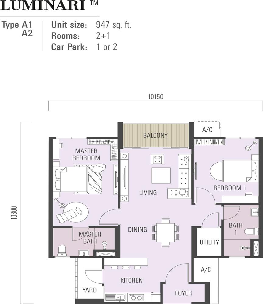 Luminari Type A1 & A2 Floor Plan