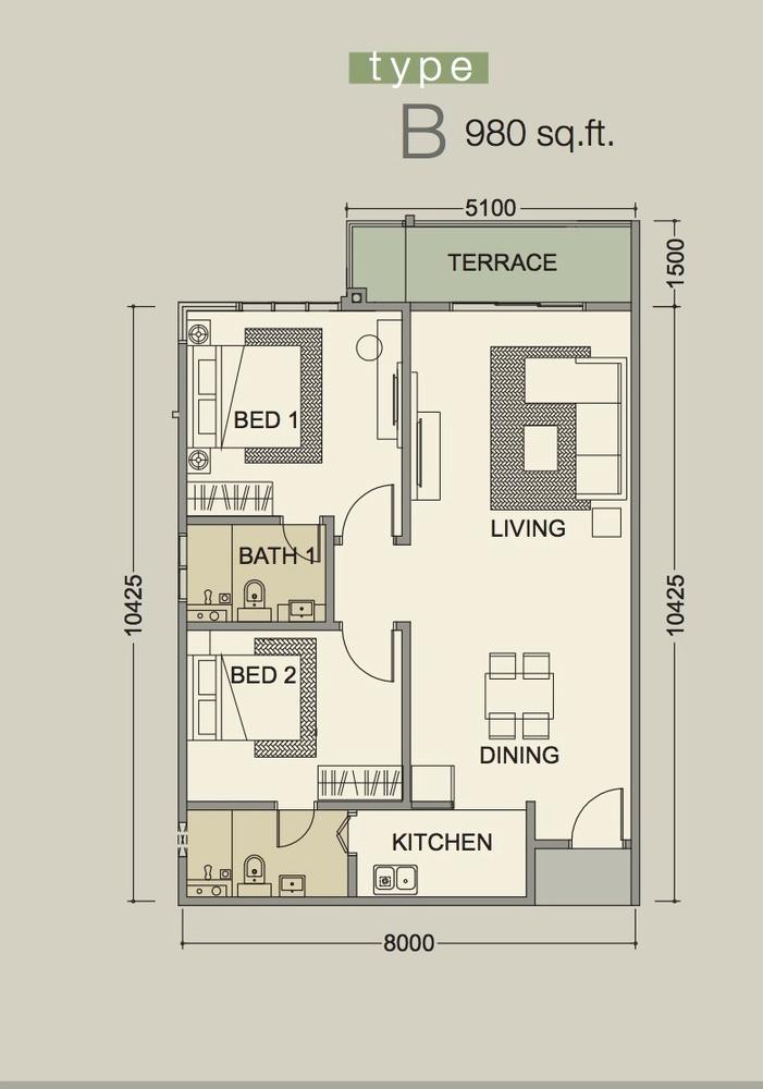 D'Secret Garden Type B Floor Plan