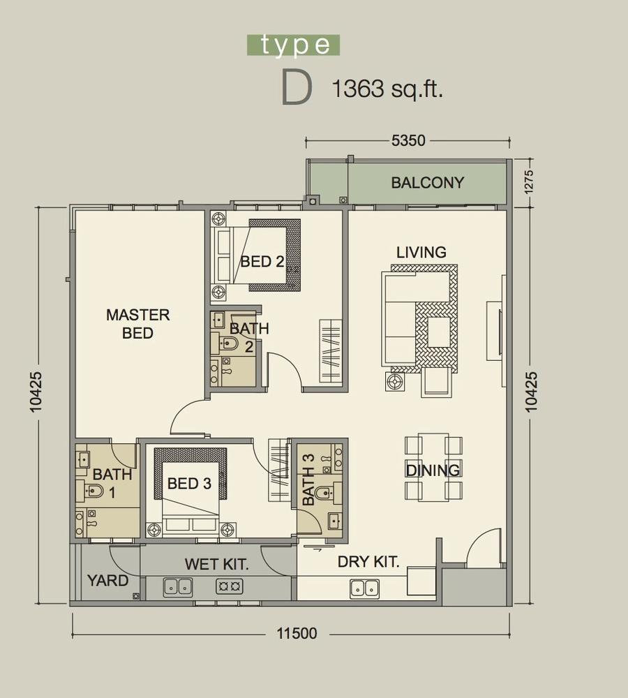 D'Secret Garden Type D Floor Plan