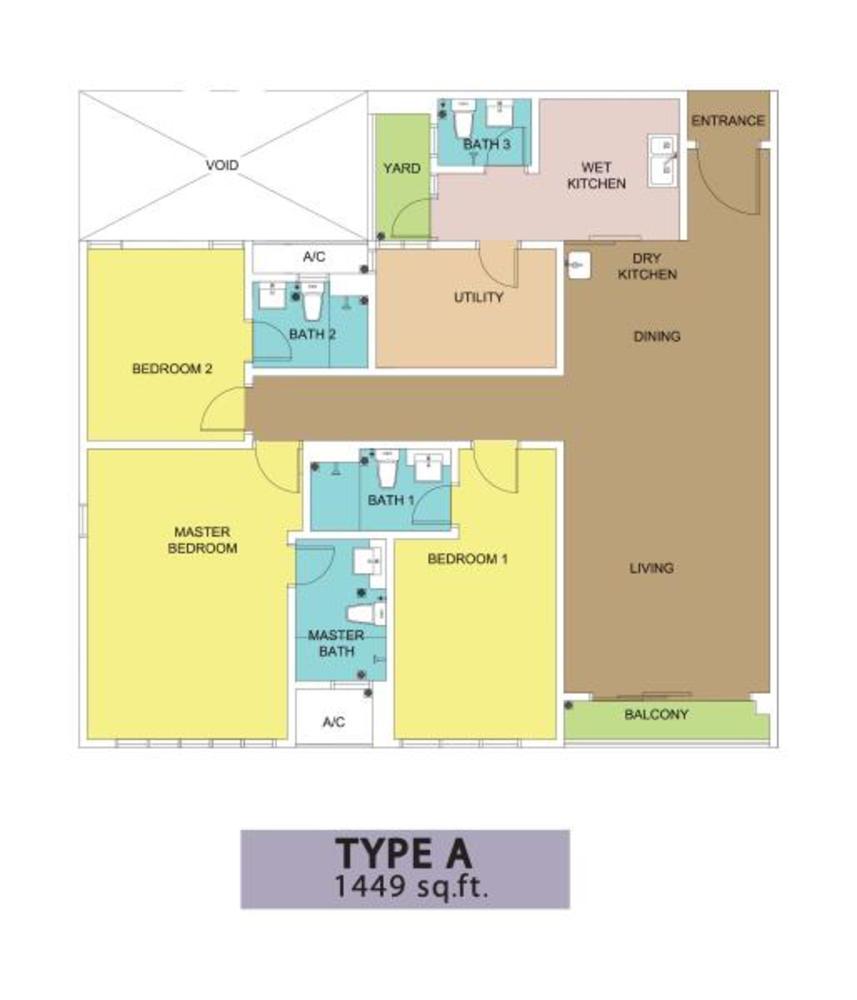 KSL Residences @ Daya Type A Floor Plan
