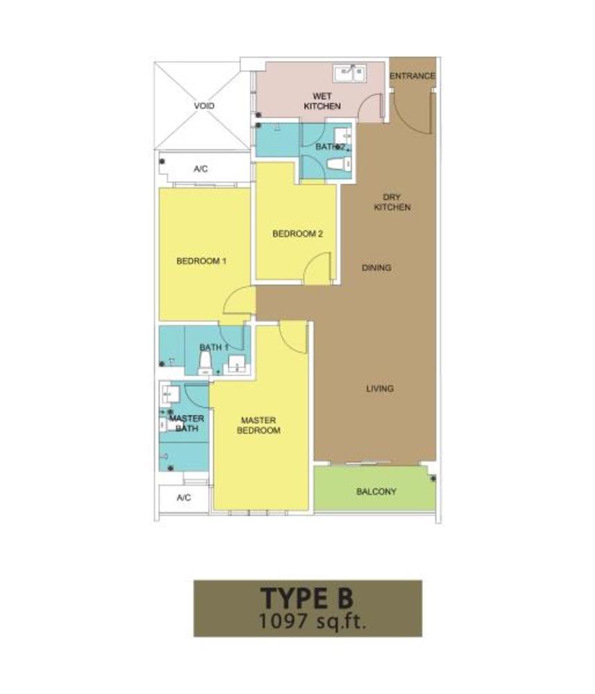 KSL Residences @ Daya Type B Floor Plan