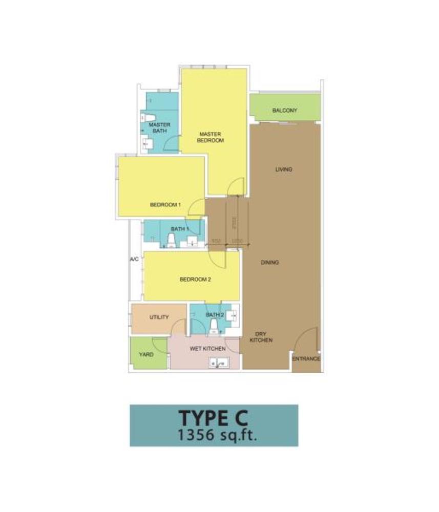 KSL Residences @ Daya Type C Floor Plan
