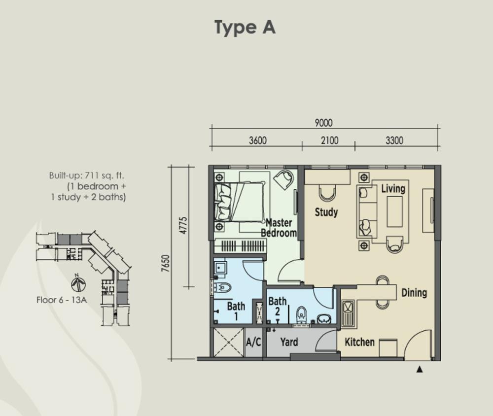 East Parc @ Menjalara Type A Floor Plan