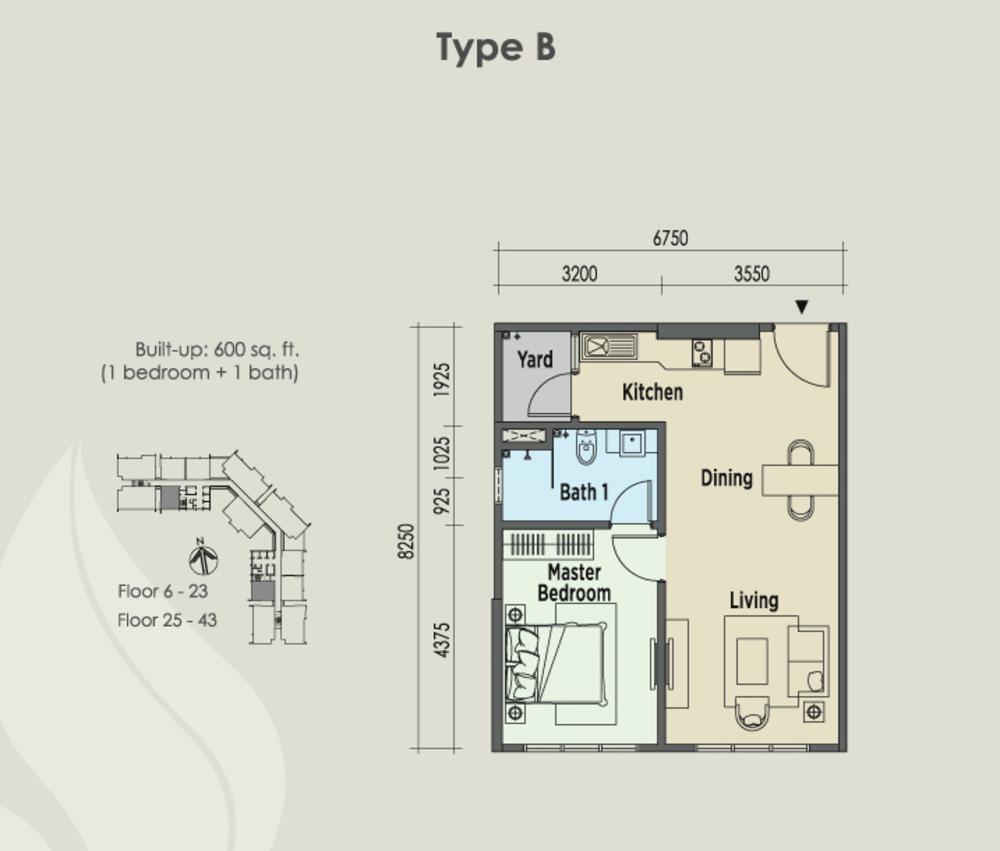 East Parc @ Menjalara Type B Floor Plan