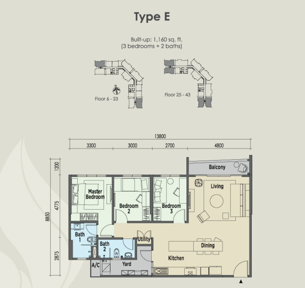 East Parc @ Menjalara Type E Floor Plan