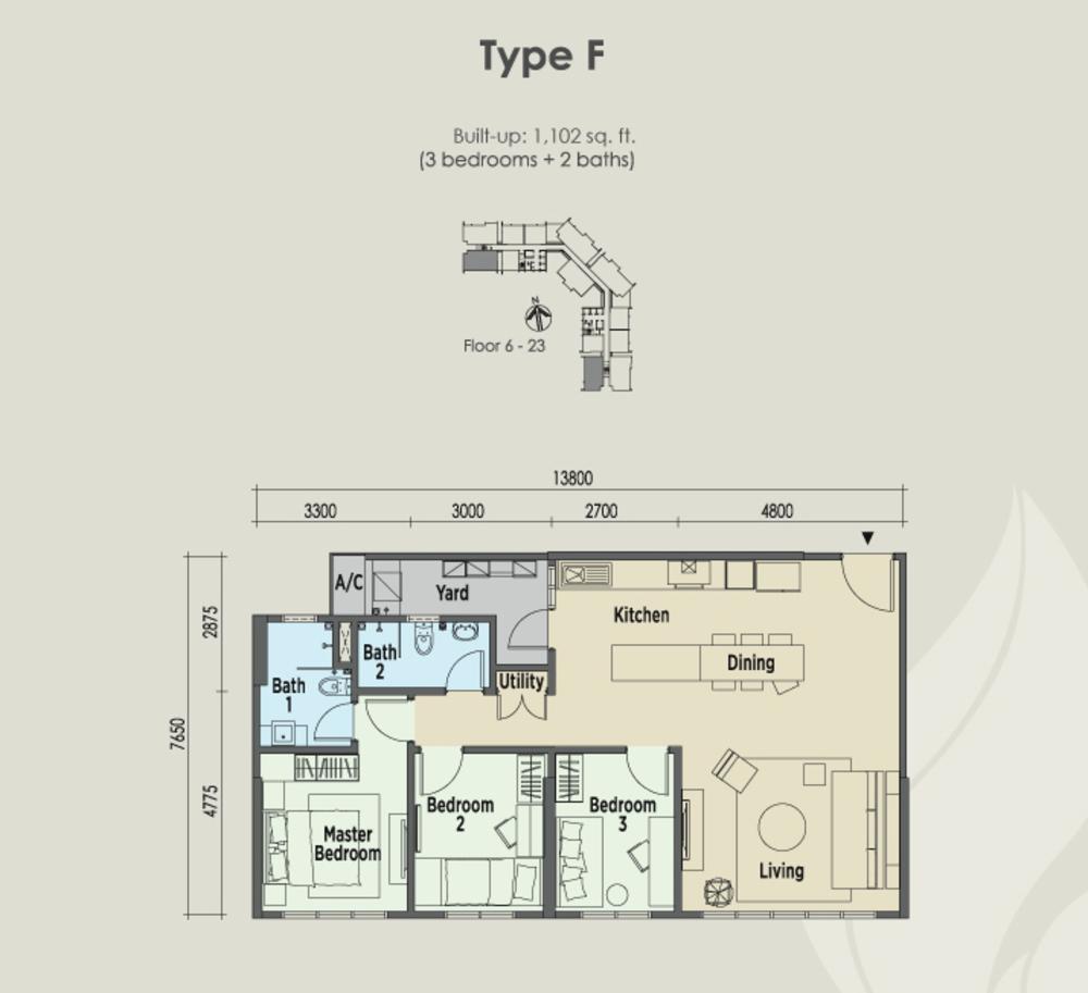 East Parc @ Menjalara Type F Floor Plan