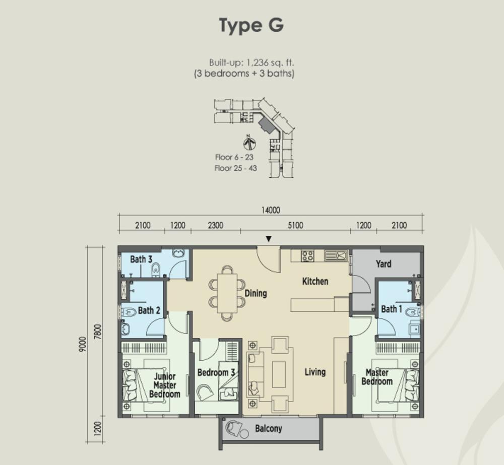 East Parc @ Menjalara Type G Floor Plan