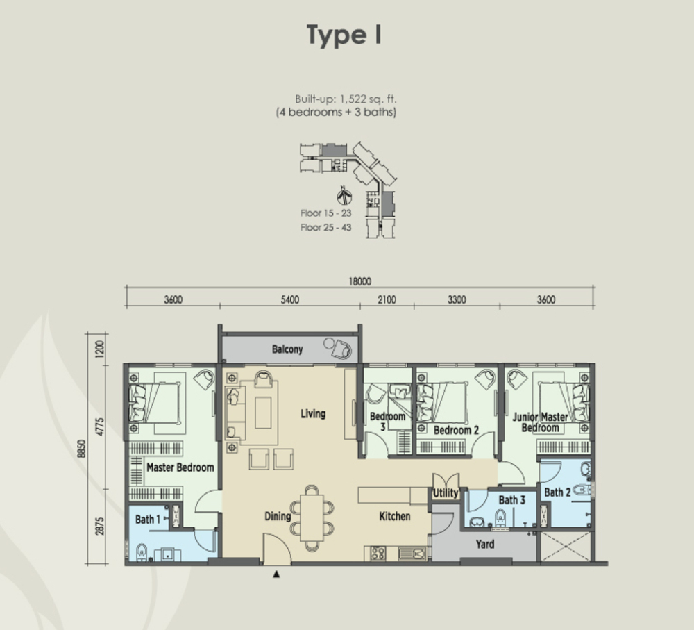 East Parc @ Menjalara Type I Floor Plan