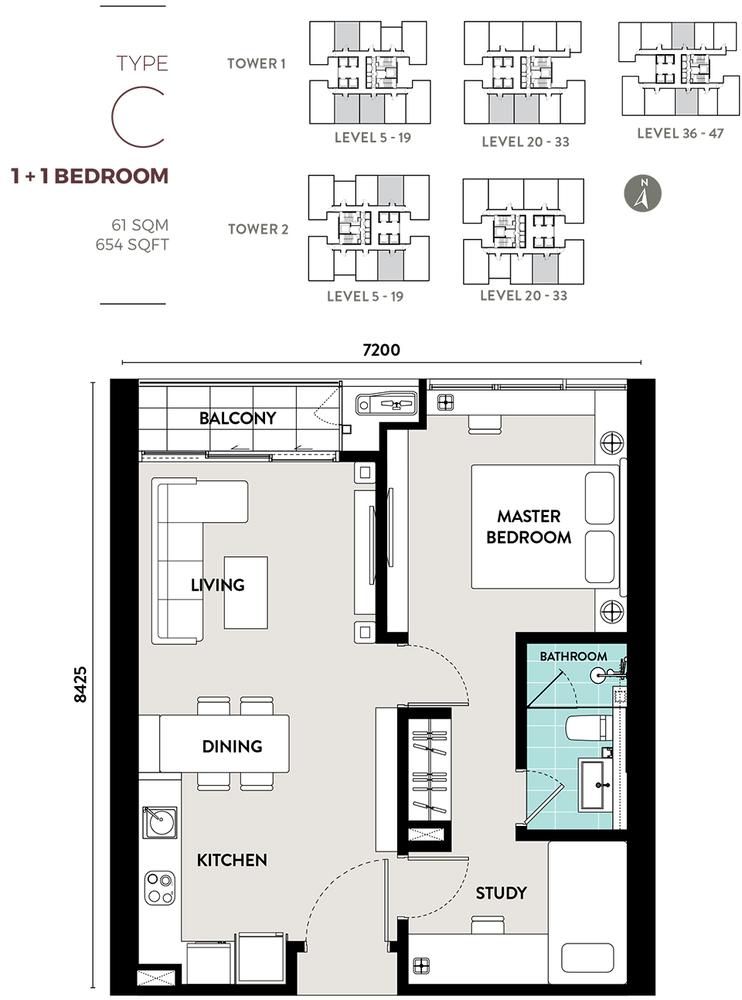 Bukit Bintang City Centre Lucentia Residences - Type C Floor Plan