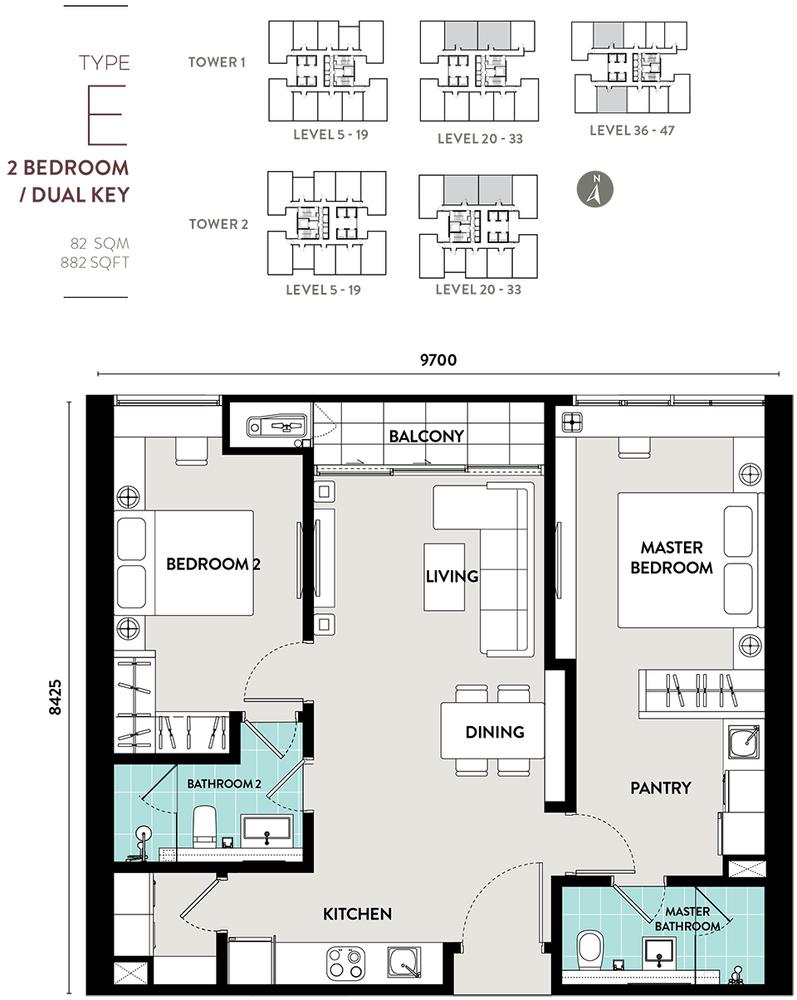 Bukit Bintang City Centre Lucentia Residences - Type E Floor Plan