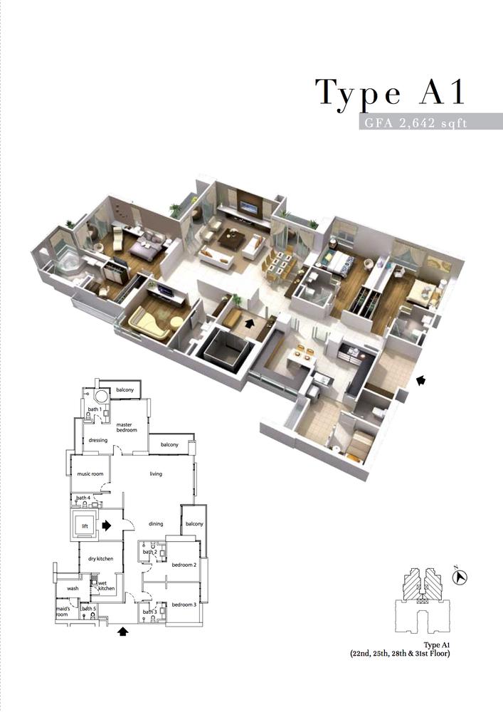The Turf Type A1 Floor Plan