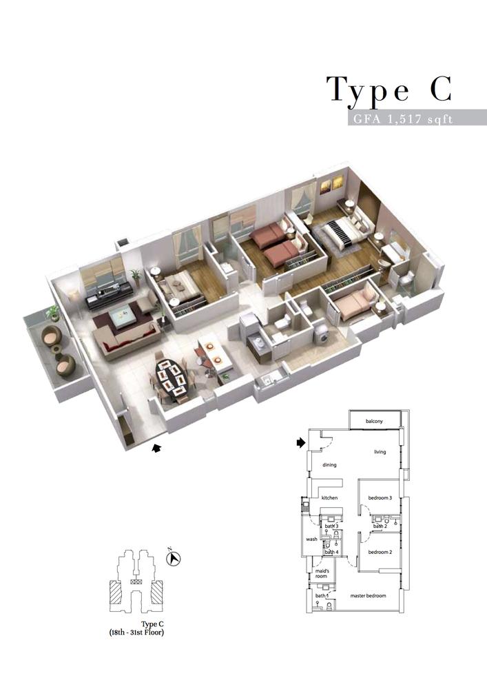 The Turf Type C Floor Plan