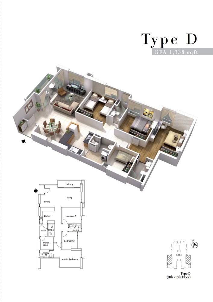 The Turf Type D Floor Plan