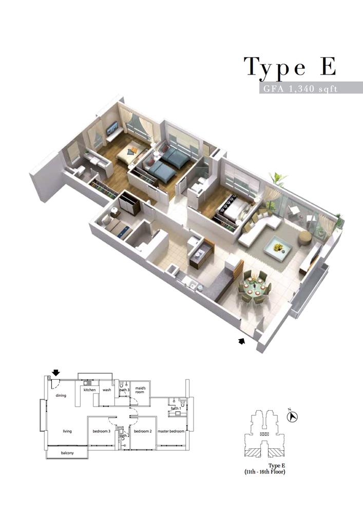 The Turf Type E Floor Plan