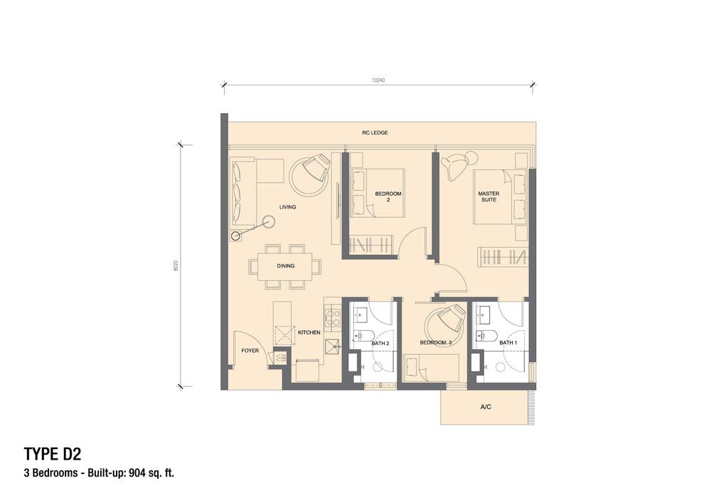Grand Medini Type D2 Floor Plan
