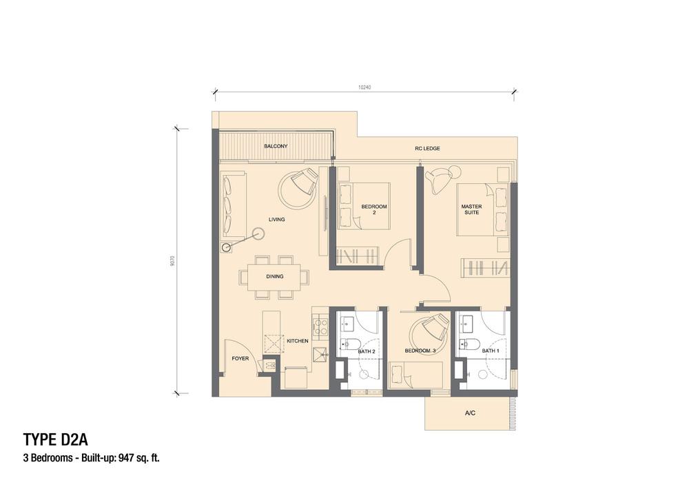 Grand Medini Type D2A Floor Plan