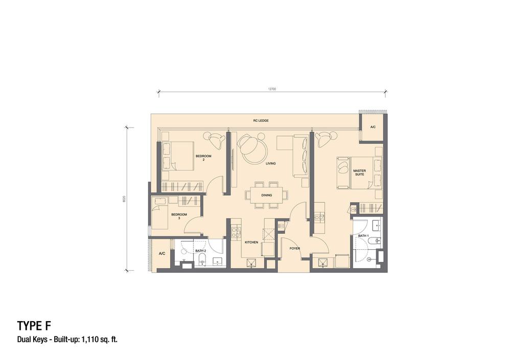 Grand Medini Type F Floor Plan