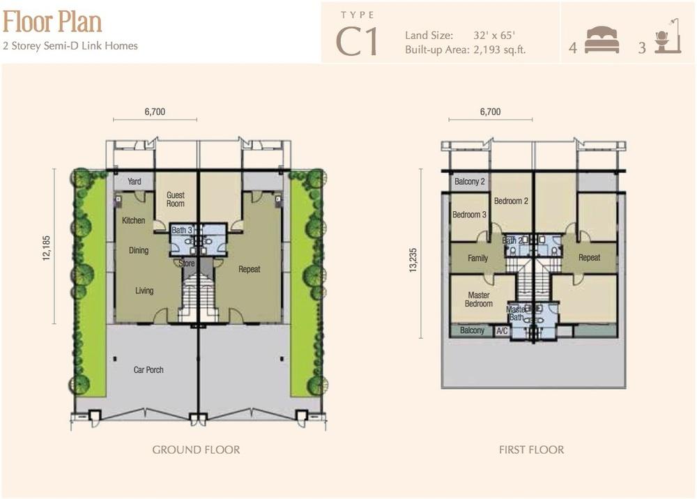 M Residence 2 Caspia - Type C1 Floor Plan