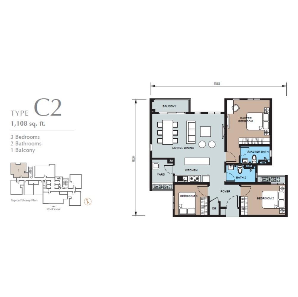 TRIO by Setia Type C2 (Block B) Floor Plan