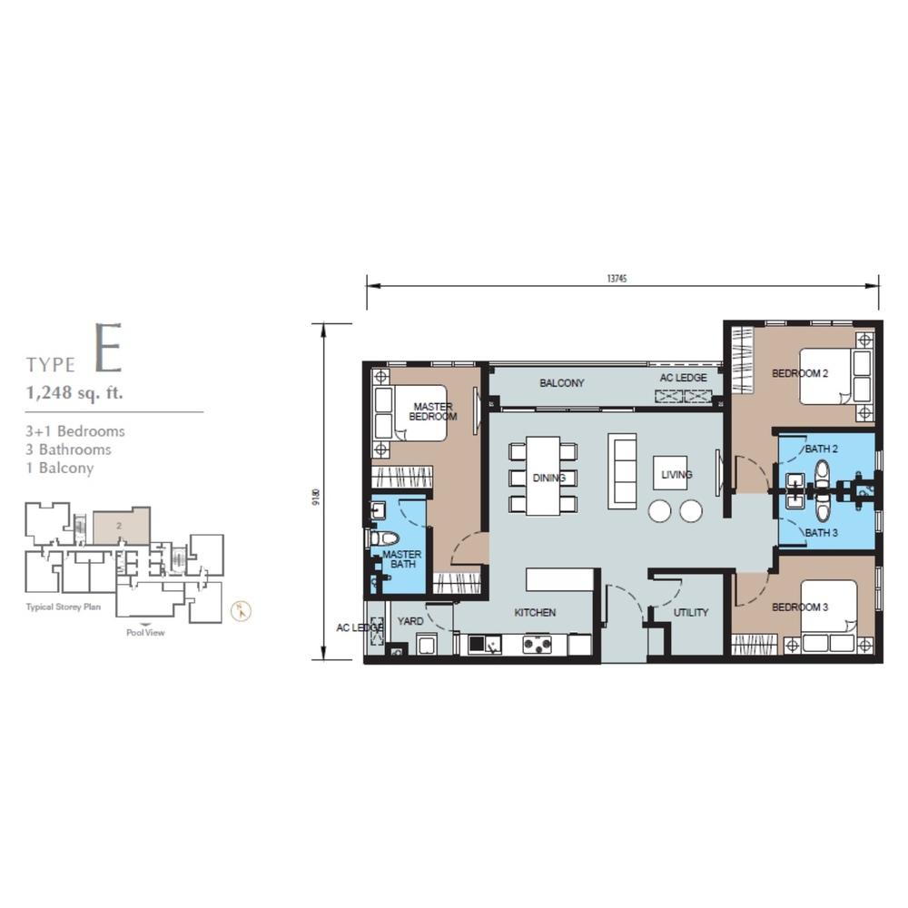 TRIO by Setia Type E (Block B) Floor Plan