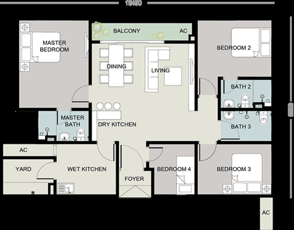 Setia Seraya Residences Type B Floor Plan